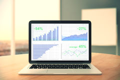 Business chart on laptop screen on wooden table in the office. Close up Royalty Free Stock Image