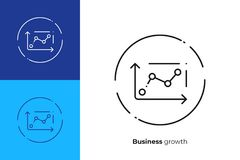 Business chart line art vector icon. Business chart line art icon, investment trading vector art, outline finance statistic illustration Royalty Free Stock Photos