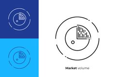 Business circle diagram line art vector icon. Business chart line art icon, investment trading vector art, outline finance statistic illustration Stock Images