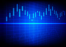 Business chart with line graph and Candlesticks on dark blue bac Royalty Free Stock Photos