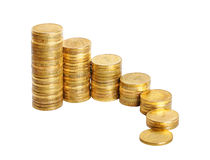 Business chart is made from coins isolated over white Royalty Free Stock Photography