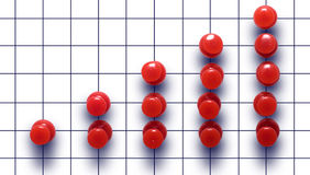 Business  chart made of the drawing pin. Red drawing pin showed business  chart development, ascending. Isolated. background in cell Royalty Free Stock Photo