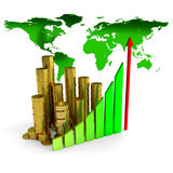 Business chart over earth map Royalty Free Stock Images