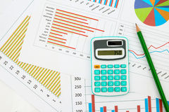 Business chart. With pencil and calculator Royalty Free Stock Photo