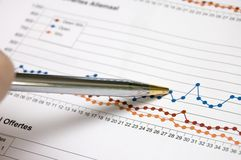 Business chart with penn Royalty Free Stock Photography