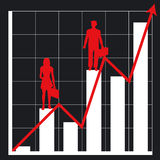 Business chart and people. Graph showing rising profits with people silhouettes - additional ai and eps format available on request Stock Photo