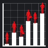 Business chart and people. Graph showing rising profits with people silhouettes - additional ai and eps format available on request Stock Photos