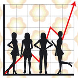 Business chart and people. Graph showing rising profits with people silhouettes - additional ai and eps format available on request Royalty Free Stock Photos