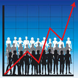 Business chart and people. Graph showing rising profits with people silhouettes - additional ai and eps format available on request Stock Image