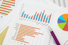 Business chart with purple pen Royalty Free Stock Image
