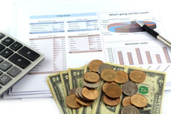 Business chart report collect budget. Isolated on white stock photo