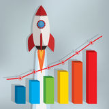 Business chart with a rocket going up. Royalty Free Stock Image
