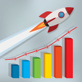 Business chart with a rocket going up Stock Photos