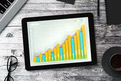 Business chart on the screen of the tablet with glasses, diary, Royalty Free Stock Photo
