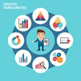 Business chart set. Successful business analytics concept with businessman and charts graphs and diagrams vector illustration Stock Photography