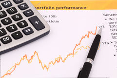 Business chart showing. Financial success at the stock market Stock Image