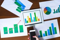 Business chart showing financial success on paper Stock Photos