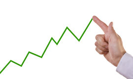 Business chart showing positive growth trend. Businessmans hand on chart showing positive growth trend Stock Photos