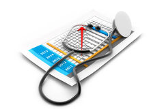 Business chart with stethoscope. 3d Business chart with stethoscope Royalty Free Stock Photography
