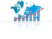 Business Chart - Success. Business 3D bar chart with arrow pointing up and world map in background Royalty Free Stock Image
