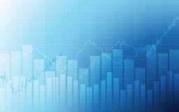 Business chart with uptrend line graph, bar chart and stock numbers in bull market on white and blue color background Stock Photo