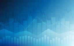 Business chart with uptrend line graph, bar chart and stock numbers in bull market on white and blue color background Stock Images