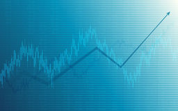 Business chart with uptrend line graph, bar chart and stock numbers in bull market on white and blue color background Royalty Free Stock Photos