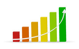 Business chart with uptrend line graph and colorful bar chart in 3d design on white color background Royalty Free Stock Photos