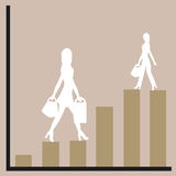 Business chart and women. Graph showing rising profits with women silhouettes - additional ai and eps format available on request Stock Images
