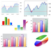 Business charts. A set of 2D and 3D business chart, Ai Illustrator 10 Stock Photos