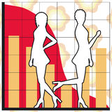 Business charts. Silhouettes of women and business charts - additional ai and eps format available on request Royalty Free Stock Photo