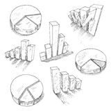 Business charts anf graphs with 3D sketch icons. Sketched 3d charts and graphs with different bar graphs and pie charts, with shadows or reflections. For Stock Image