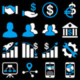 Business charts and bank icons Royalty Free Stock Images