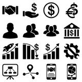 Business charts and bank icons Stock Photos