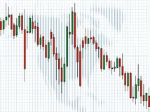 Business charts, Candle. Spreadsheet data and business charts, Candle Royalty Free Stock Images
