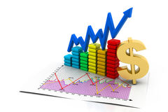 Business Charts. 3d render of Business Charts Stock Photography