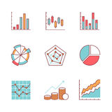 Business charts and data icons thin line set Royalty Free Stock Photo