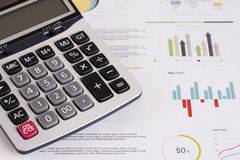 Business charts and diagrams. With a calculator stock photography