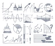 Business charts and diagrams set in doodle style. Vector pictures. Graph and diagram, chart data infographic illustration Stock Photography