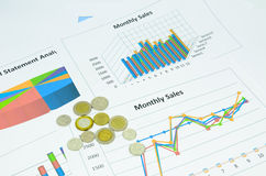 Business charts and graph with coins Stock Image