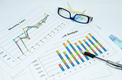 Business charts and graph with glasses eye and pen Royalty Free Stock Image