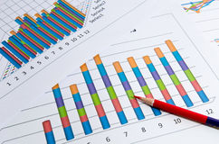 Business charts and graph and pencil Royalty Free Stock Image