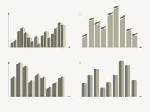 Business charts and graphs. Infographic elements. Set of different graphs and charts, information on charts, statistical data. Business charts and graphs Royalty Free Stock Photos