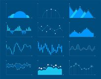 Business charts and graphs infographic elements vector illustrat. Set of different graphs and charts, information on charts, statistical data. Business charts Stock Images