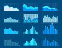 Business charts and graphs infographic elements vector illustration. Set of different graphs and charts, information on charts, statistical data. Business Stock Images