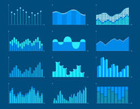 Business charts and graphs infographic elements vector illustration. Set of different graphs and charts, information on charts, statistical data. Business Royalty Free Stock Photos