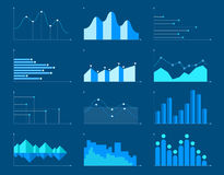 Business charts and graphs infographic elements vector illustration. Set of different graphs and charts, information on charts, statistical data. Business Royalty Free Stock Photography