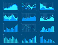 Business charts and graphs infographic elements vector illustration. Set of different graphs and charts, information on charts, statistical data. Business Royalty Free Stock Images