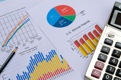 Business charts and graphs with pen and calculator Royalty Free Stock Image