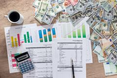 Business charts and graphs showing results of successful financial planning royalty free stock photo